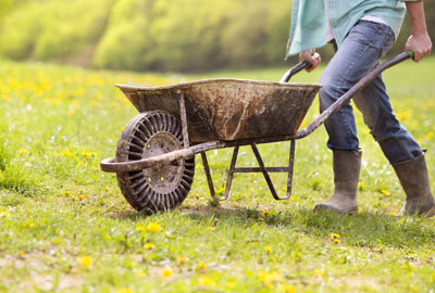 man pulling wheelbarrow for organic farming